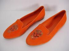 ALEXANDER MCQUEEN ORANGE SUEDE SEQUIN SKULL HEAD BALLET FLATS SHOES WOMEN'S 38