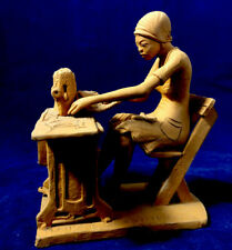 Detailed Sculpture, African Haitian Woman Sewing Singer Machine , Signed Dated