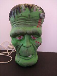 """Vintage 1993 Trendmasters Frankenstein Head Halloween 10"""" Lighted Decoration"""