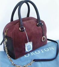 RRP$595 New OROTON Alpine Chain Barrel Handbag Bag Leather Suede Brown O Charm
