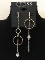 GUESS Earrings Womens NEW Gold & Rhinestone Mismatched Linear Drop Earrings