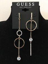 GUESS Earrings Women's Gold & Rhinestone Mismatched Linear Drop Earrings NWT