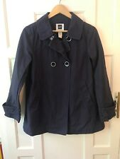 Gap ladies Swing Coat Jacket S Double Breasted Navy Blue 100% cotton mid-weight