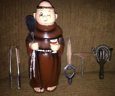 New listing Vintage Ceramic Friar / Monk Figure Bar Tool Toter Holder~Japan