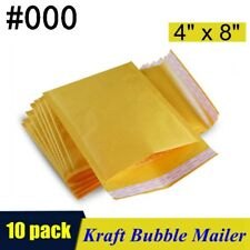10pcs 000 4x8 Kraft Bubble Mailers Padded Self Seal Shipping Bags Envelopes