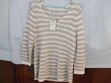 Dana Buchman Women's Sz Lrg-Open Knit Sweater-Wht/Beige-Must Have-NWT-L@@K