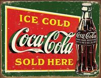 Coca Cola Sold Here Ice Cold Verwitterte Looking Metall Zeichen 400mm x 300mm (