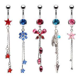 BodyJ4You 5PCS Belly Button Rings 14G Star Steel Aqua Pink CZ Girl Dangle Navel