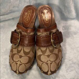 Coach Signature Logo Mules/Clogs Shoes Size 5