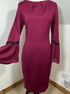 Paper Dolls Maroon Purple Fluted Sleeve Bodycon Dress Size 12 Black Lace Trim