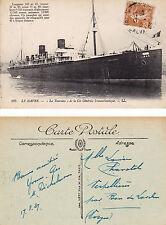 FRENCH CRUISE SHIP LA TOURAINE A POSTCARD PM 1927