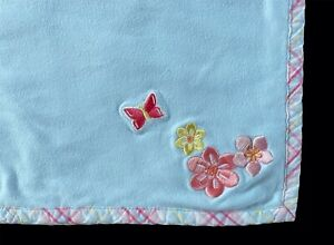 Gymboree Girls Baby Cotton Blanket Blue Pink Butterfly Floral Flowers Vtg 2001