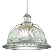 Hanging Light Retro Nickel Brushed And Grooved Clear Glass With 1 Lamp E27