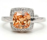 Flawless 2CT Padparadscha Sapphire & Topaz 925 Sterling Silver Ring Sz 7, PO16