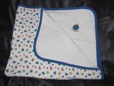 Vtg Gymboree Baby Boy Blanket Lil Critter Pocket White Blue Turtle Lizard Frog