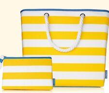 CLINIQUE Set~Summery Beach Tote Shoulder Bag & Makeup Bag New 2017!!