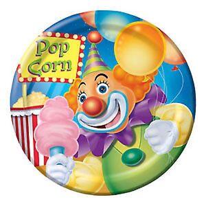 Circus Big Top Party Supplies - Party Snack/Dessert Plates 18cm 8pk Circus Clown
