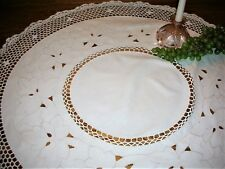 New listing Vintage Oval Light Ecru Embroidered Cutout Doily Crochet Border & Inset 33 x 36