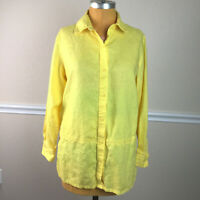 Westbound Womens Tunic Top Linen Button Front Embroidered Long Sleeve Size M