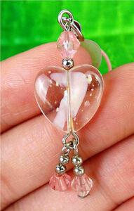 13x13x5mm Pink Millefiori Glass Love Heart Pendant Bead AP21191