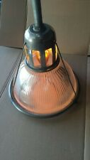 Vintage Matching PAIR Holophane Ribbed Glass Factory Lights Mid - Century.