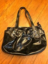 Marco Buggiani Italy Large Shoulder Bag/Purse Black Patent Leather Gold Buckles