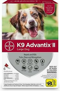 New Sealed K9 Advantix II for Large Dogs 21-55 lbs 6 Pack of Monthly Doses