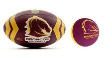 SET OF 2 BRISBANE BRONCOS FULL SIZE 5 LARGE FOOTBALL & HIGH BOUNCE BALL