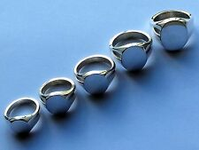 Hallmarked sterling silver Oxford signet rings, solid head and extra heavy shank