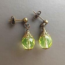Uranium glass crystal drop earrings . yellow bead bronze tone handmade jewellery