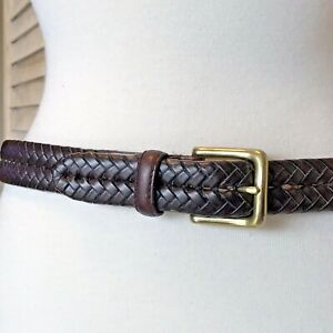 Womens Genuine Fossil Brown Bonded Leather Belt Braided with Gold Tone Buckle