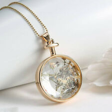 Women Gold Plated Dried Flower Glass Pendant Long Chain Charm Necklace Cabochon