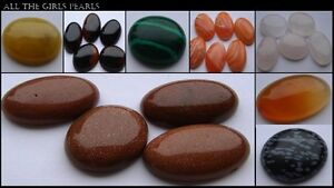 Oval Gemstone Cabochon 20mm x 15mm Flat Back. 14 styles available. (BOX92)