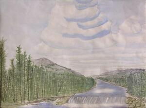 1955 Primitive Watercolor Corpus Christi River, Mountain and Waterfall Painting