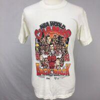 VTG 1991 92 NBA World Champs Chicago Bulls Mens White T Shirt sz L USA 90s