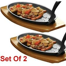 Set Of Two Cast Iron Sizzling Sizzler Steak Plate & Handle