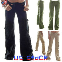 Fashion Women's Pants Wide Leg Overalls Cargo Pockets Flare Trousers Belted US