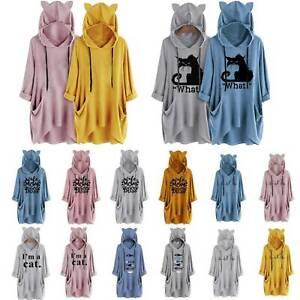UK Womens Cat Ear Hooded Hoodie Sweatshirt Baggy Pullover Jumper Tops Mini Dress
