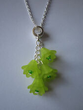 Ladies 17 inch Lime Green Flower Cluster Necklace,- Silver Plated