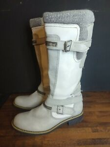 SKILLS Grey/Beige FAUX LEATHER BUCKLE TRIM FLAT BOOTS SIZE 8/41