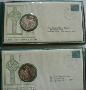 two 1972 St. Patrick's Day Commemorative Medals and Cachet .999 Fine