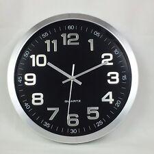 Stainless Steel Wall Clock Classic Round Design Watch Quartz Silver 30cm