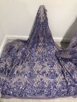 """Lilac Gold Stretch Sequins Embroidery Lace Fabric 50"""" Width Sold By The Yard"""