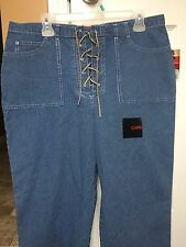 Gloria Vanderbilt Laced Fly Capri Cropped Pants Ribbed Cotton Size 14