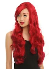 LONG RED WAVY COSTUME HAIR WIG think SALLY ARIEL POISON IVY MERMAID COSPLAY