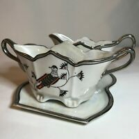 Art Deco Silver Lustreware Sugar & Creamer with Tray Hotta-Yu Shoten Bird Theme