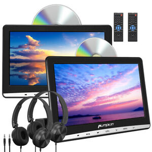 "2x10.1"" HD 1080P Digital LCD Screen Car Headrest DVD Player USB/SD/AV Headphones"