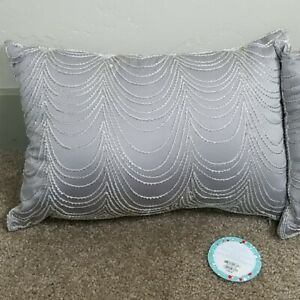"Martha Stewart 13"" x 19"" Beaded Decorative Pillows Taupe (Set of 2) NWT $200"