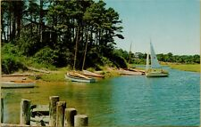 Pleasant Bay Inlet Boats Sailboats Cape Cod Massachusetts MA Postcard B4