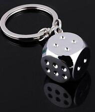 Dice Miniature 3D Key Ring Chain Alloy Keychain Keyfob Silver